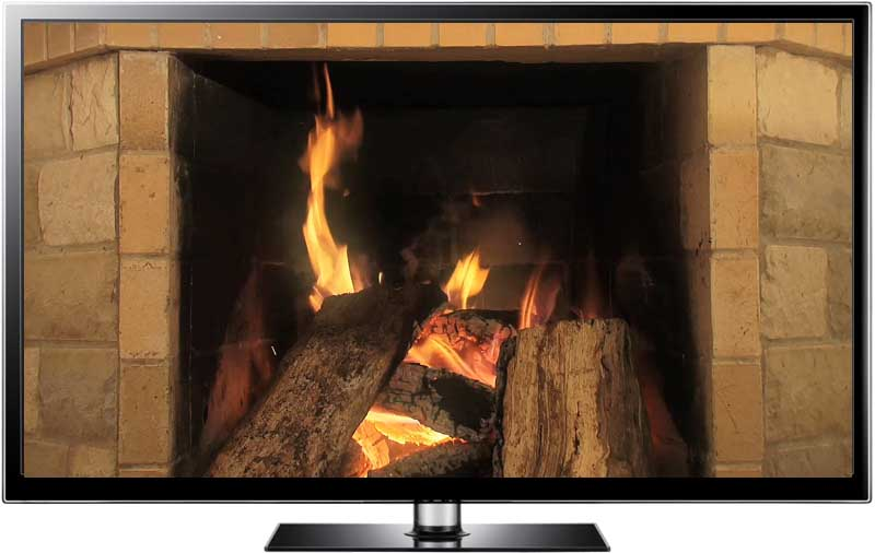 hd and screensaver of fireplace with sides