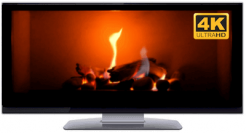 Ultrawide fireplace screensaver video